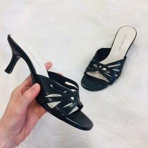 Bandolino Black Leather Slip On Sandal Heels   8